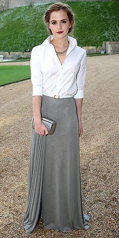 | EMMA WATSON | Silver silk jersey skirt with a crisp white button down shirt – both from Ralph Lauren Collection.