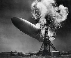 The Hindenburg on fire at the mooring mast of Lakehurst, May 6, 1937.