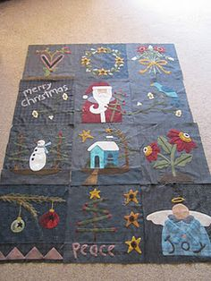 Wool Christmas quilt from Primitive Gatherings would like this pattern