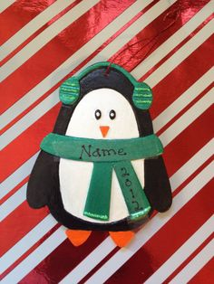 Green Personalized Penguin Ceramic Ornament by langanfamilyfinds