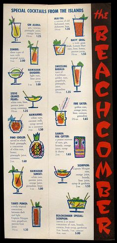 drink menu, menus, inside menu, hawaiiana, don the beachcomber, cocktail menu, vintag cocktail, drinks, tiki bar