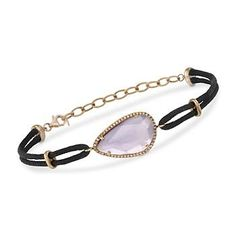 7.25 Carat Rose De France Amethyst and Diamond Silk Cord Bracelet in 14kt Rose Gold. >>Click on the Amethyst Bracelet to see more styles at Ross-Simons.