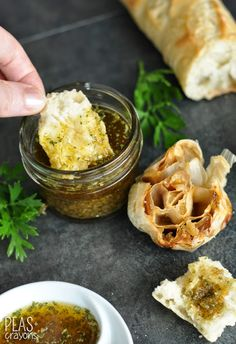 Restaurant-Style Olive Oil + Herb Bread Dip with Roasted Garlic