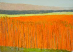 Wolf Kahn Orange Hillside, 2012, oil on canvas, 30 x 42 inches