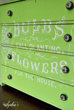 Old White Chalk Paint® decorative paint lettering on furniture piece by the Sophia's Decor blog.
