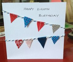 home made bunting card from washi tape