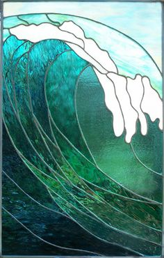 Ocean Wave - stained glass by ©Stef Semple  www.sempleglass.com/