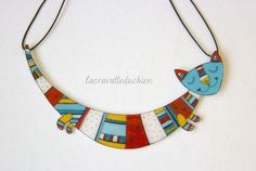 Cat Statement necklace - Cat jewelry colorful - illustrated acrylic cat. €45,00, via Etsy.