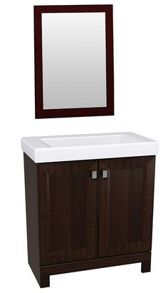 This vanity and mirror combo features a sophisticated  transitional profile. It includes generous storage for bathroom toiletries. The color-matched finished interior is attractive and easy to clean. The cultured marble vanity top has a rectangular integral sink basin that completes the designer look, and it's easy to clean.