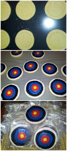 Archery target sugar cookies