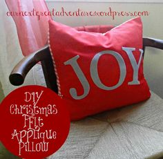 Christmas DIY Felt Applique Pillow Cover Pic #thissarahloves