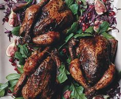 Spice-Rubbed Cornish Hens with Haroseth Stuffing and Sherry Jus