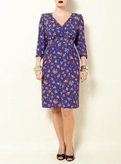 SWAN BY CLEMENTS RIBEIRO PURPLE PANSY PRINT 'PEGGY' DRESS