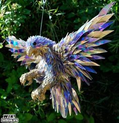 Bird made from old CDs!