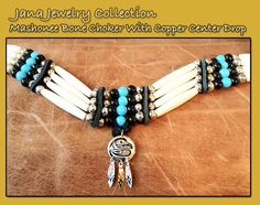 Mashonee Bone Choker With Turquoise And Black Bead And Primate Images Hand Eitched Copper Center Drop-Comes with a special thank you card hand done by Jana Mashonee   herself with her printed signature.  Review The Jana Jewelry collection off of: http://www.indianvillagemall.com/janajewelry.html