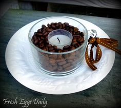 Fresh Eggs Daily®: Coffee Bean Candle Holders - a Pinspiration Project Adorable Candles, Fresh Eggs Daily, Coffee Beans Candles, Coffee Smells, Candles Burning, Candle Holders, Candles Holders, Burning Release, Candles Ideas