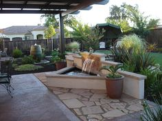 Water Feature with stucco and tile back splash - traditional - Patio - Sacramento