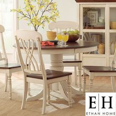 @Overstock - The design of this 5-piece dining set from Mackenzie captures the essence of a country home showcasing an antique white and cherry finish. A distressed treatment and round table design combine to create a unique look.http://www.overstock.com/Home-Garden/ETHAN-HOME-Mackenzie-5-piece-Country-Style-Two-tone-Cherry-Antique-White-Dining-Set/5171765/product.html?CID=214117 $779.99