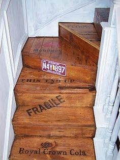 Crate Stairs...cute idea for the stairs down to the basement. You could use wine box crates on the run and paint the rise of each step. Possibilities...