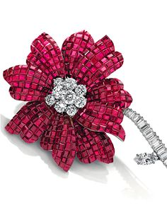 A Mystery-Set Ruby Magnolia Brooch, by Van Cleef & Arpels, 1968 THE PROPERTY OF MADAME HÉLÈNE ROCHAS