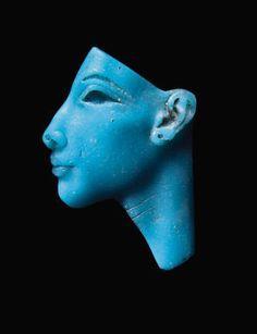 An Egyptian glass face inlay of Nefertiti New Kingdom, Amarna Period, Dynasty XVIII, circa 1353-1336 BCE glasses, egyptian glass, turquois glass, ancient egypt, 3d art, amarna period, nefert, ancient art, glass face
