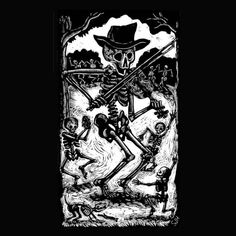 Large Calavera Skeleton Fiddler Black TShirt by Fiddlebones, $17.00