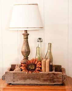 old boxes, fall displays, candles, tray, pallet, back porches, wooden boxes, bottles, old crates