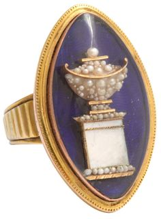 Magnificent Eighteenth Century Memento Mori Ring. Via 1stdibs. A glance at this Georgian memento mori of royal blue enamel, natural pearls and high karat gold shows it is in a class by itself. The natural pearls are like bubbles in a glass of champagne.