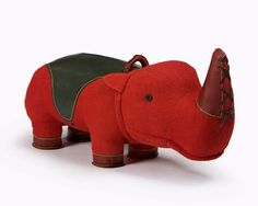 "Large ""Therapeutic Toy"" Rhinoceros in red jute and leather. Designed and made by Renate Müller, Germany, 2010. Photography: Sherry Griffin/R 20th Century."
