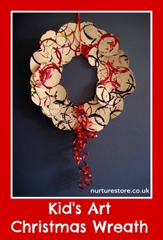 So pretty! Painted Christmas wreath, great kids craft / art project.