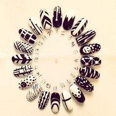 Black and white nail art designs on nail wheel
