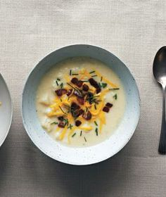 Loaded Bacon-Potato Soup With Cheddar and Chives from realsimple.com #myplate #protein