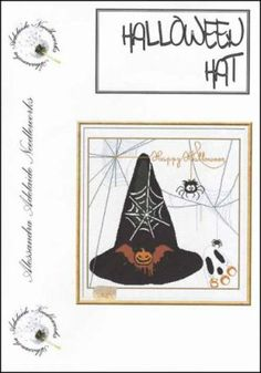 """""""Halloween Hat"""" is the title of this cross stitch pattern from Alessandra Adelaide Needleworks that shows a witch's hat surrounded by various Halloween friends from a ghost to a spider to a bat!"""
