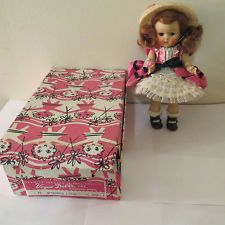 GINNY VOGUE DOLL STRUNG 7 1/2 INCH TALL ORG BOX AFTERNOON ZIPPER NO73 ROSE COLOR