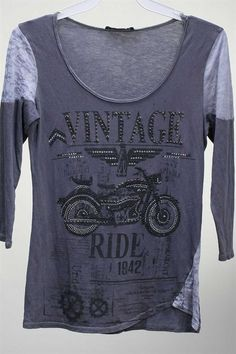 MotoChic Vintage Ride 3/4 Sleeve in Charcoal with Lots of Crystal and Stud Embellishments