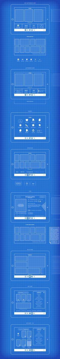 Movies app wireframe by Vladimir Vorobyev, via Behance #grid #wireframe #app