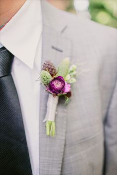 brides of adelaide magazine purple wedding grooms fashion suit buttonhole groom fashion, groom outfit, flower