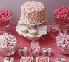Pink dessert table with the famous ruffle cake!
