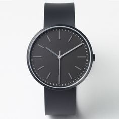104 Series watch by Uniform Wares in black. Available at Dezeen Watch Store: www.dezeenwatchstore.com #watches