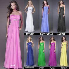 New Bridesmaid Prom Dresses Party Formal Gowns Floor length Beaded Stock Sz 6/8/10/12/14/16/18