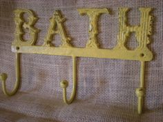 Cast Iron Yellow Wall Hook/  Bath Towel/ Robe by FromShab2Chic, $20.99