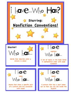 Nonfiction Conventions I have...Who Has? Game! FREE :)