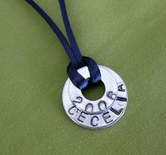 Little Birdie's Nest: Personalized Washer Necklace