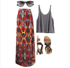 Gray crop top and patterned maxi skirt. love the skirt