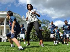 First Lady Michelle Obama encourages kids to be fit and active by participating in fun activities.