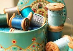 thread spools, sewing box, aqua blue, color, vintage tins, sewing thread, wooden spools, something blue, old tins