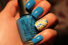 Pure Blue and Sunflower Nail Art