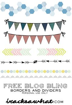FREE BLOG BLING! Dividers and borders! All free downloads! www.irocksowhat.com