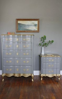 SOLD Gold Detail French Provincial Set by HayleonVintage on Etsy, $800.00