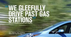 """""""We gleefully drive past gas stations"""" – Patrick & Debbie V., Real Nissan LEAF Owners. This is what it's like to go 100% electric! real answer, real nissan, nissan leaf, gleefulli drive, gas station, real owner, leaf owner"""